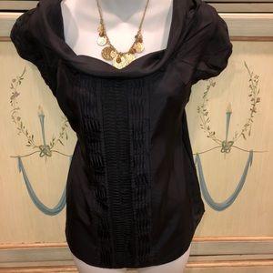 Steffe $$ off shoulder / cowl silk black blouse 8